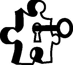 鍵穴と鍵の無料アイコンのパズルのピース
