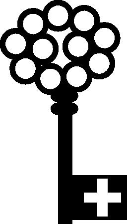 十字穴とトップ無料アイコン上の円のキー