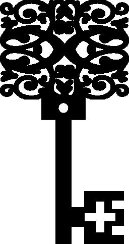 ビンテージ花の正方形のデザイン キー形状無料アイコン