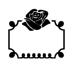 フレーム無料アイコンの上に花飾りをバラ