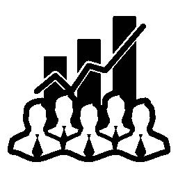 株価データ analytics インターフェース ビジネスマンとバー garphic 背景無料のアイコンとシンボル