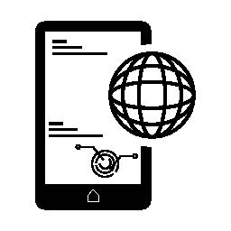無料アイコンのシンボルをグローバルに接続された携帯電話