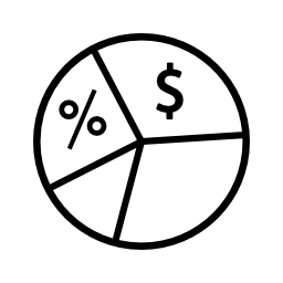 円グラフについてはお金の無料アイコン