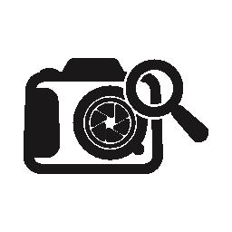 拡大鏡ツールの無料アイコンと写真カメラ