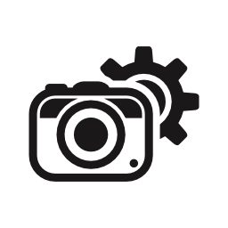 無料のアイコンの後ろにギアを持つインターフェイスの写真カメラの構成を示す