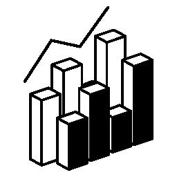 3 d データ analytics デュアル グラフィック無料アイコンをバーします。