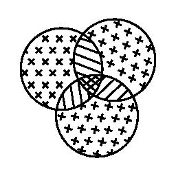 無料の 3 つの円のアイコンでパイ グラフィック比較インタ フェース シンボル