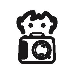 少年写真カメラ無料アイコンの背後にある写真を撮る