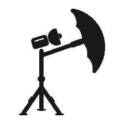 三脚と傘の無料アイコンと写真ランプ フォーカス
