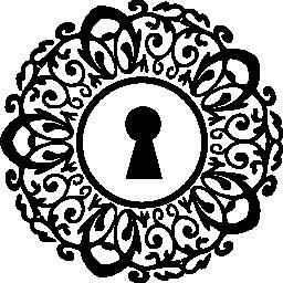 鍵穴に飾られた円形無料アイコン