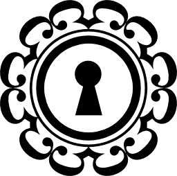円形リング飾り無料アイコンと鍵穴
