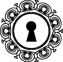 無料のアイコンの周りに装飾的な円で鍵穴ツール