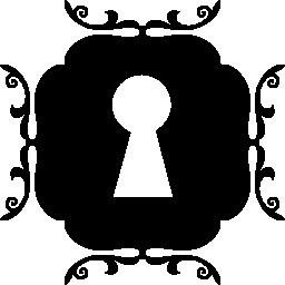 無料アイコンの周りの丸い飾り正方形の鍵穴
