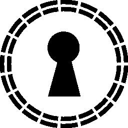 キーホール形状の小さな行の円で無料のアイコン