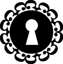 鍵穴に飾られた円形バリアント無料アイコン