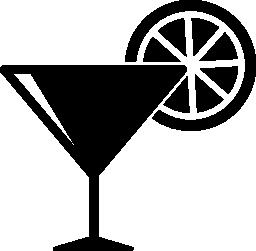 レモン スライス無料アイコンとカクテル グラス