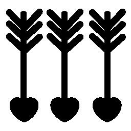 心の無料アイコンの付いた矢印ダウン 3 Cupido
