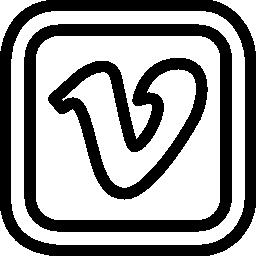 角丸の正方形で Vimeo の手紙ロゴ無料アイコン