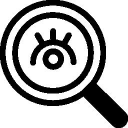 無料アイコンの内部にある目と拡大鏡の検索インタ フェース シンボル