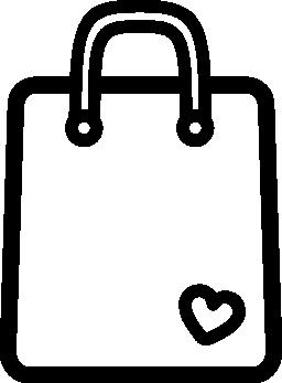 小さなハート無料アイコンと買い物袋アウトライン ツール