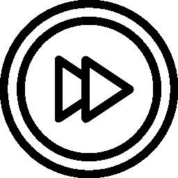 マルチ メディア インターフェイス無料アイコンの早送り矢印円形ボタンの概要