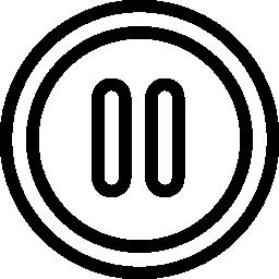 一時停止マルチ メディア コントロール円形ボタン概要無料アイコン