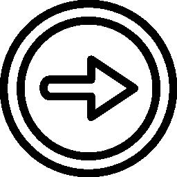 二重円の輪郭の無料アイコンの右矢印