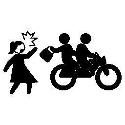 バイク犯罪者女性を盗んでバッグ無料アイコン