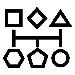 幾何学的基本図形輪郭線無料アイコンによって接続されているグラフィック