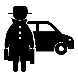 帽子とコート無料のアイコンの後ろの車に覆われた 2 つのスーツケースで刑事フロント立って