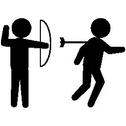 アーチャー刑事アーチ無料アイコンの矢印と彼の後ろの人を傷つけること