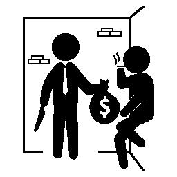 お金の袋の無料のアイコンを持つ武装した犯罪者