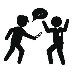 お金の無料アイコンを求める人を攻撃するナイフで刑事