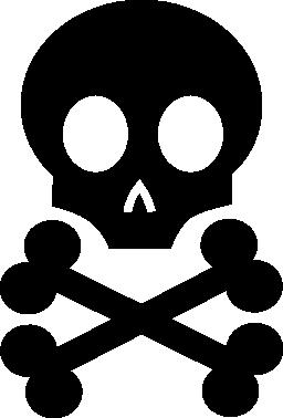 死の頭骨および骨の無料アイコン