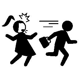盗まれた女性のバッグの無料のアイコンを実行している犯罪者
