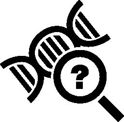 質問記号付きの拡大鏡で DNA の科学シンボル無料のアイコン