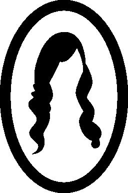 長い女性の髪イメージの楕円形のミラー無料アイコン
