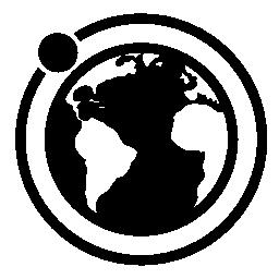 地球無料アイコンの周りの月の軌道