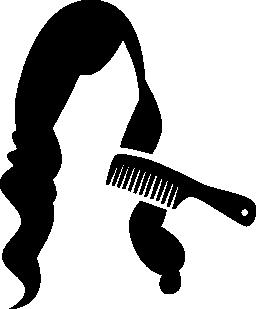 コム長く暗い女性の髪の無料のアイコンを