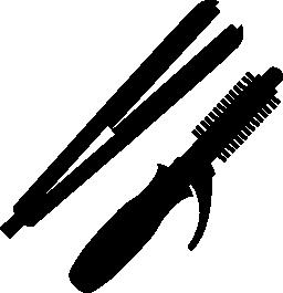 ストレートの髪と髪カーラー無料アイコン