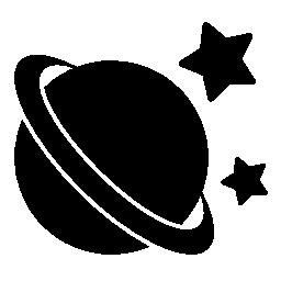 無料のアイコンの周りの星と土星黒い図形