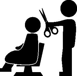 無料のアイコン彼の前に座っているクライアントに髪をカットはさみで美容院