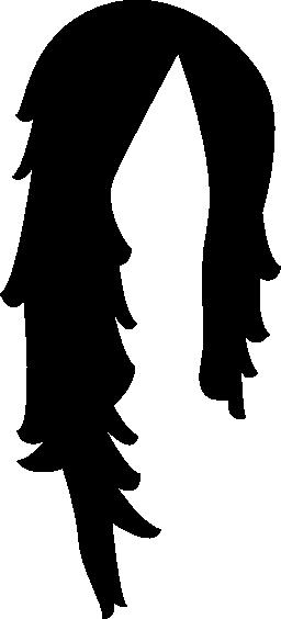 長い髪の暗い形の無料のアイコン