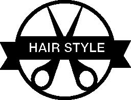 はさみとバナー無料アイコンが付いた髪スタイルのバッジ