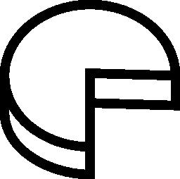 四分の一部分アウトライン シンボル無料アイコンなしの 3 d パイ グラフィック