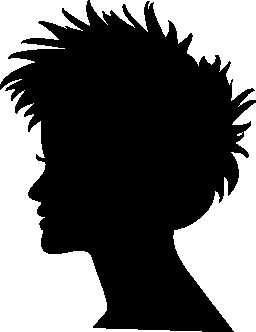 短い髪の女性の頭部のシルエットの無料のアイコン