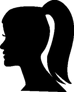 ポニーテール無料アイコンと女性の頭