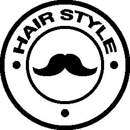 髪サロン口ひげ円形シンボル無料アイコン