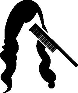 櫛と長い髪の無料のアイコン