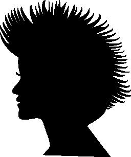 短い髪の女性ヘッド シルエット無料アイコン